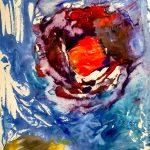 Цыбисов Дима, 7 лет. Бесконечный космос, гуашь, картон. Семейные мастерские. Цветные поля. Марк Ротко