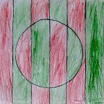 Яшин Иван, 6 лет. Полосатка зелено-красная. Семейные мастерские. Виктор Вазарели Оптическое искусство